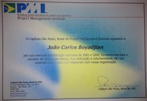 Certificado PMI de Contruibuição